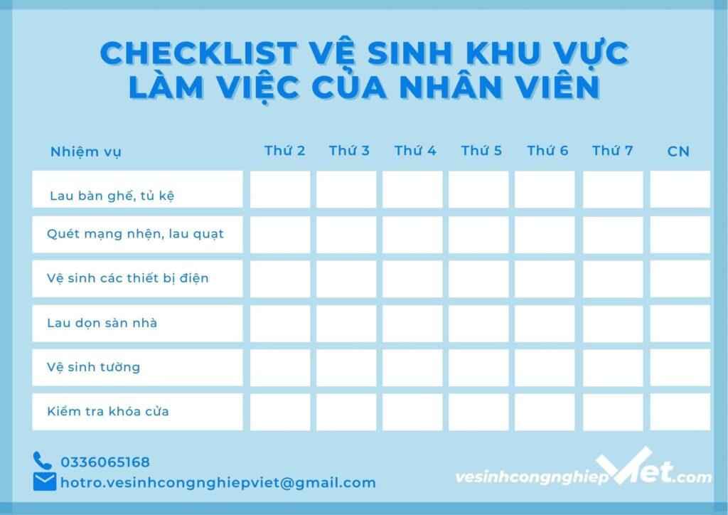 Checklist khu vực làm việc của nhân viên