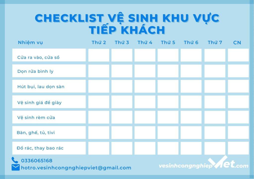 Checklist khu vực tiếp khách