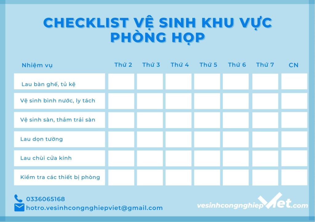 Checklist khu vực phòng họp