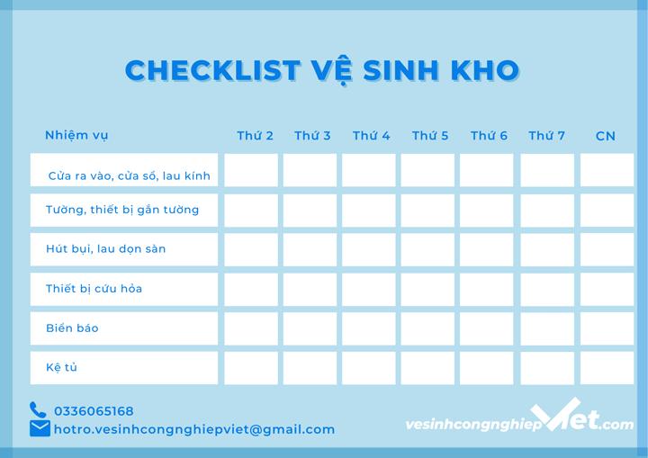 Checklist vệ sinh kho