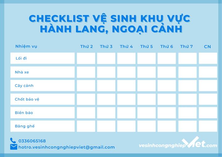 Checklist vệ sinh khu vực ngoại cảnh