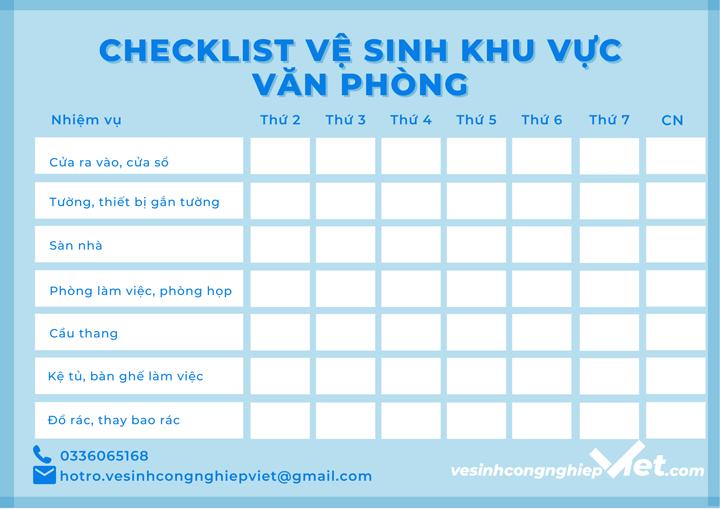 Checklist vệ sinh văn phòng