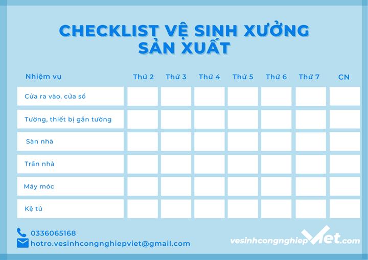 Checklist vệ sinh xưởng sản xuất