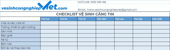 Checklist vệ sinh căng tin