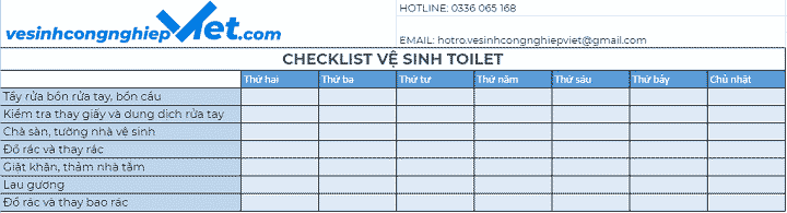 Checklist vệ sinh khu vực toilet