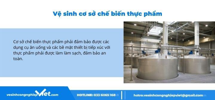 vệ sinh cơ sở chế biến thực phẩm